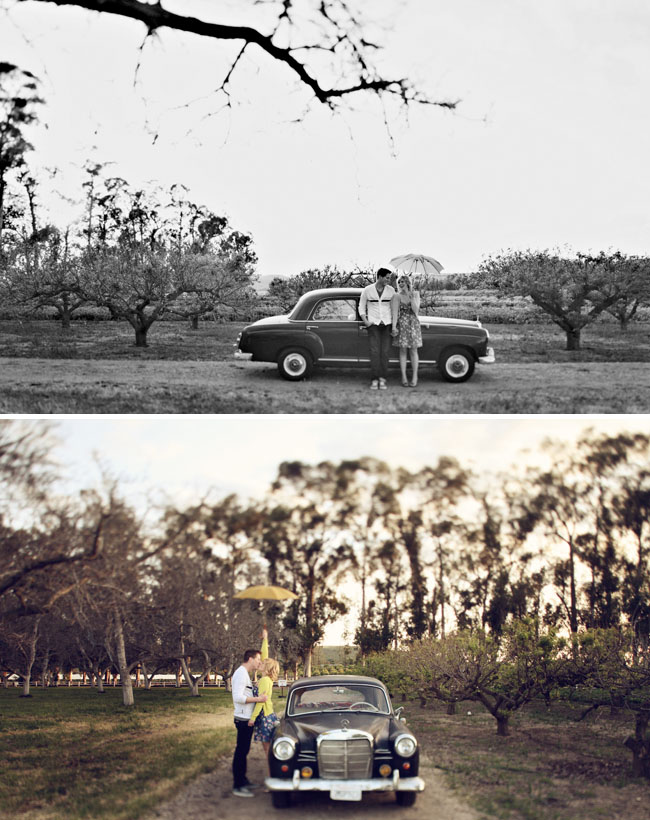car vintage engagement photos