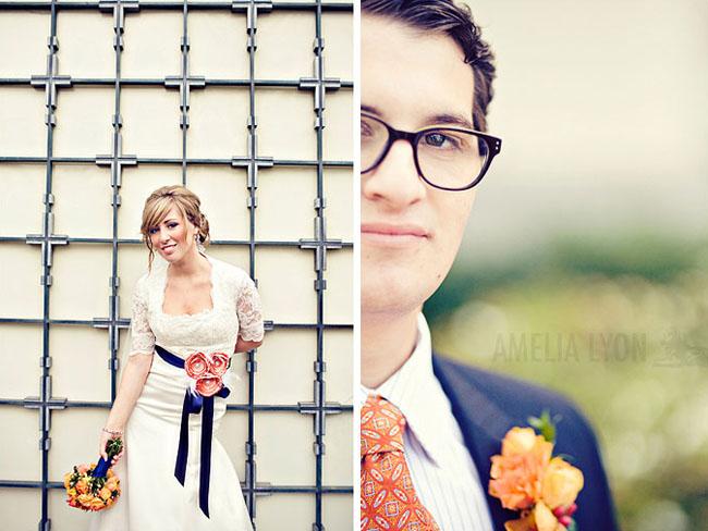 wedding dress blue sash with flower