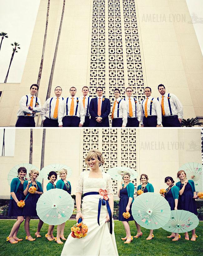 bridal party umbrellas orange ties