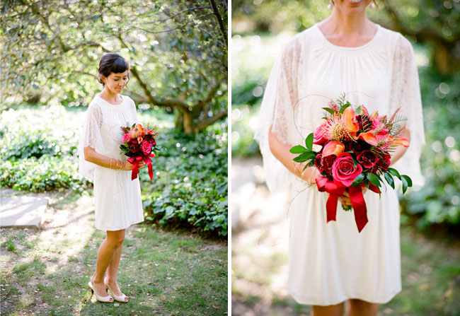 red bouquet and short wedding dress