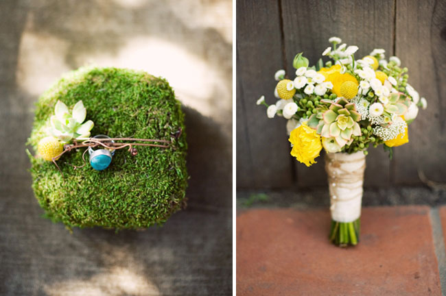 wedding bearer ring and bouquet