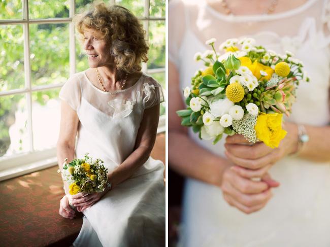 wedding bride yellow bouquet