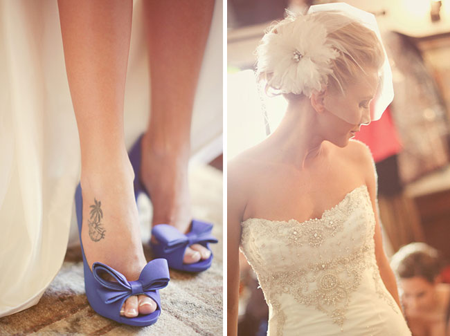 blue wedding shoes with bow bride
