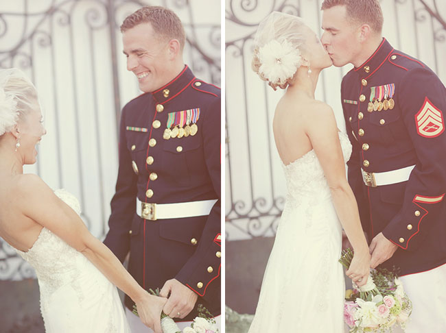 wedding military couple first look