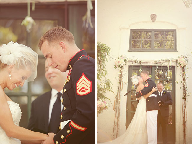 wedding ceremony kiss backyard