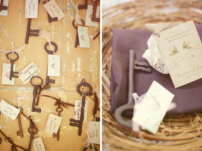 wedding vintage keys placecards