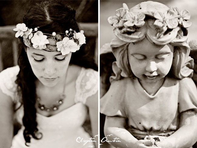 bride with flower headpiece statue