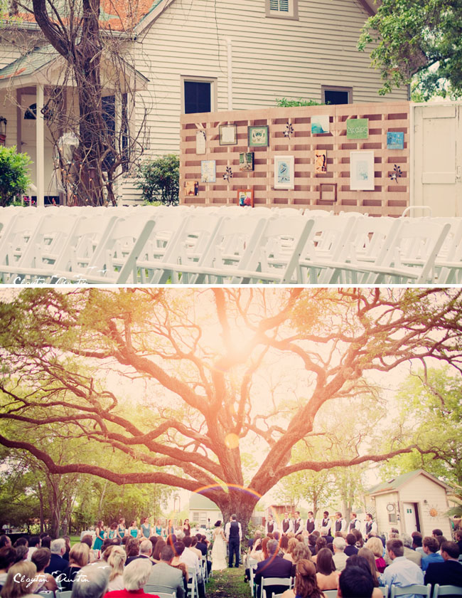 outdoor wedding under oak tree