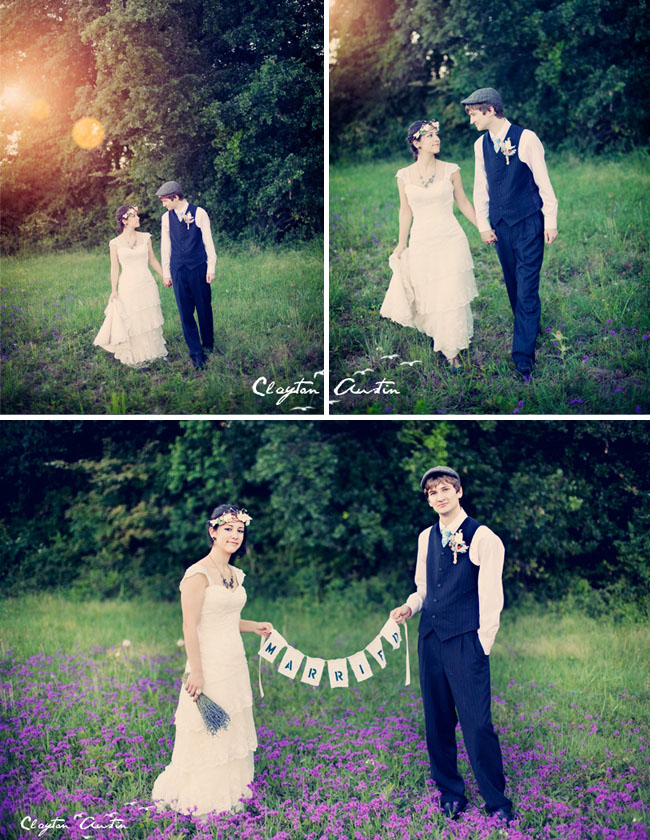 bride and groom field of lavender