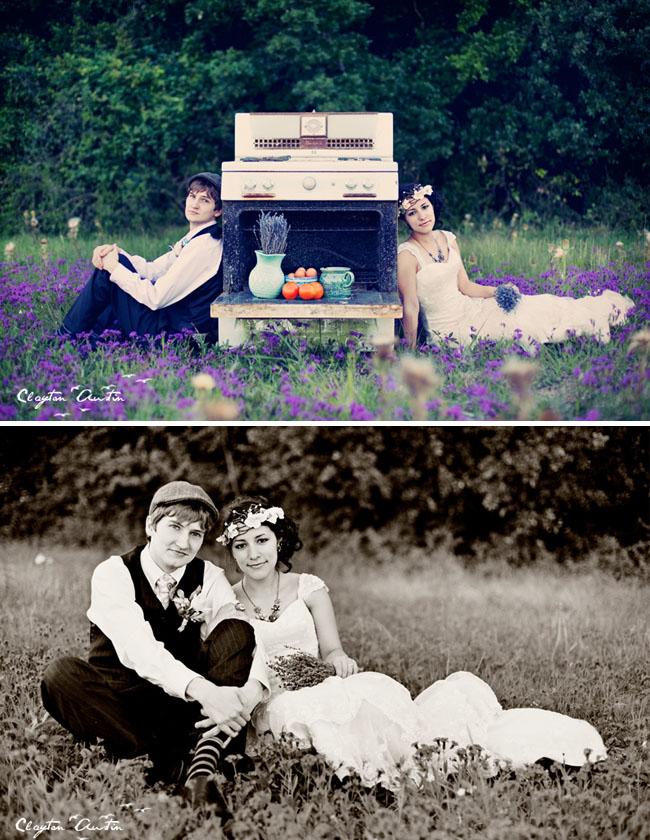 bride groom oven field of lavender