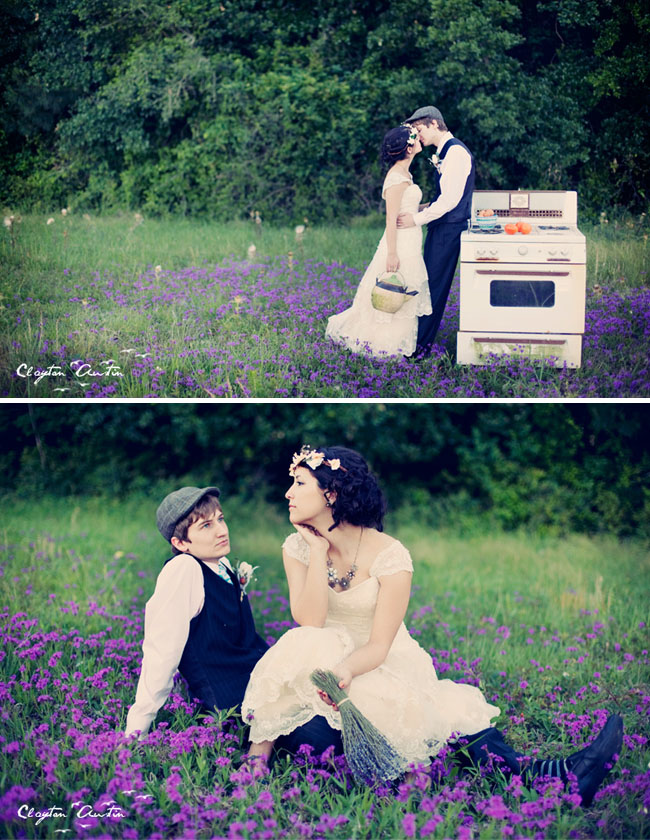 bride groom oven field of lavender