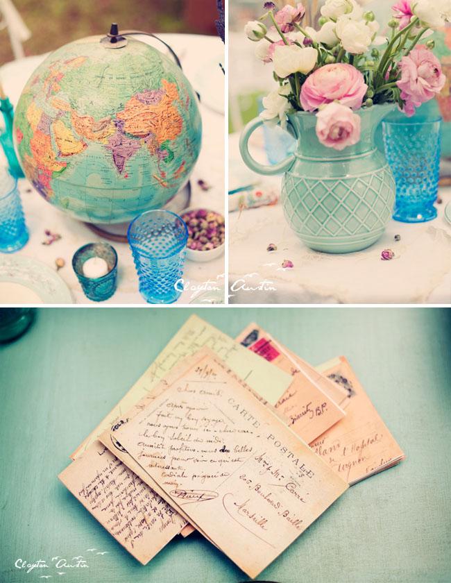 vintage postcards colored glass wedding decorations