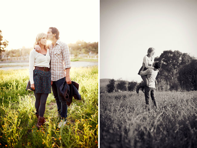 photos of couple in a field