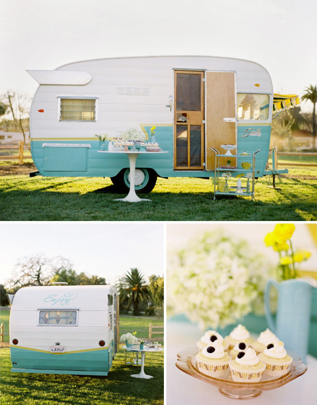 enjoy cupcakes vintage trailer wedding
