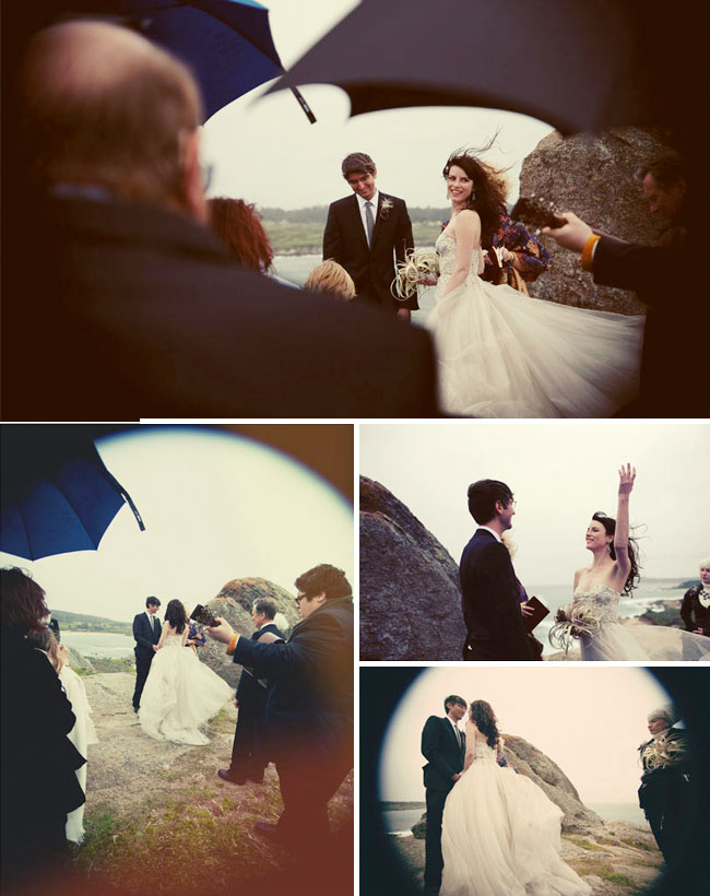 wedding along the coast with umbrella