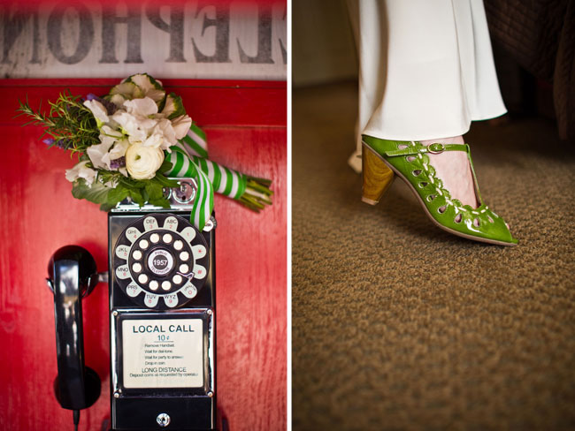 green wedding shoes and green bouquet