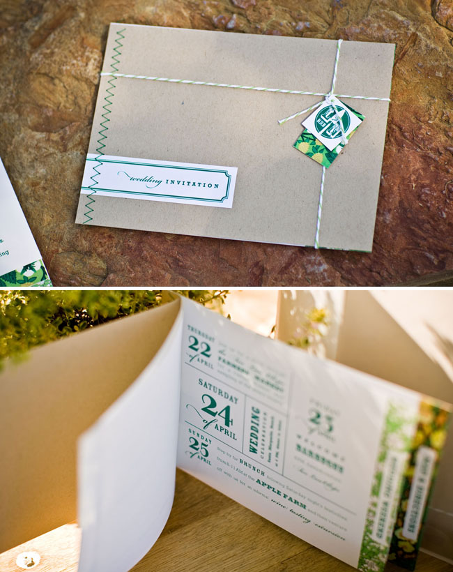 green wedding invitations with brown paper