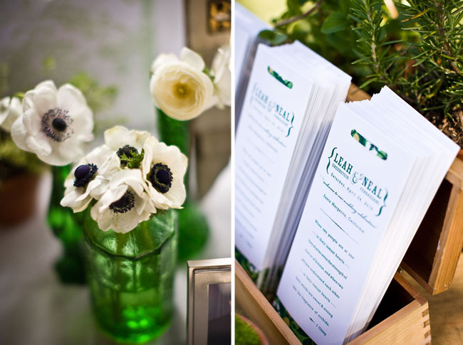 anemones in green vase wedding programs