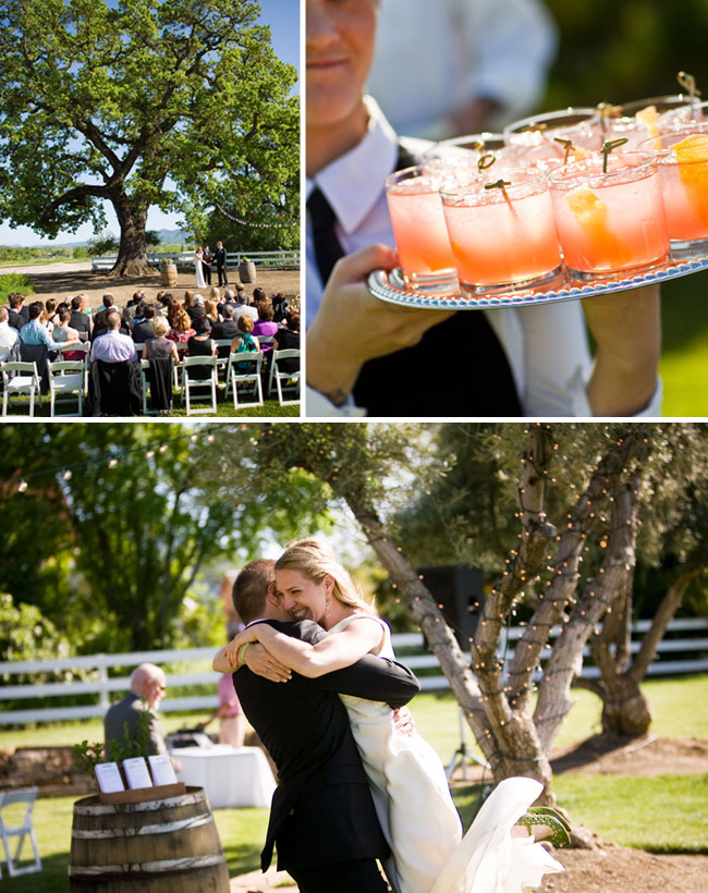 wedding ceremony under a big oak tree