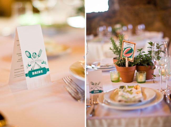 wedding reception decor green and herbs