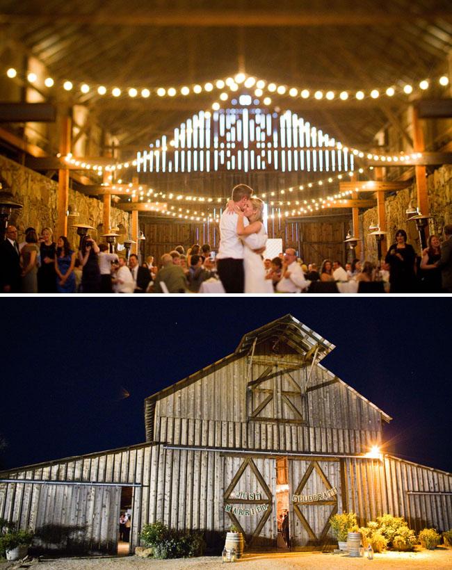 wedding in a barn dancing