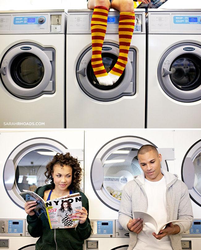 Real Weddings Study: Laundromat Engagement Photos