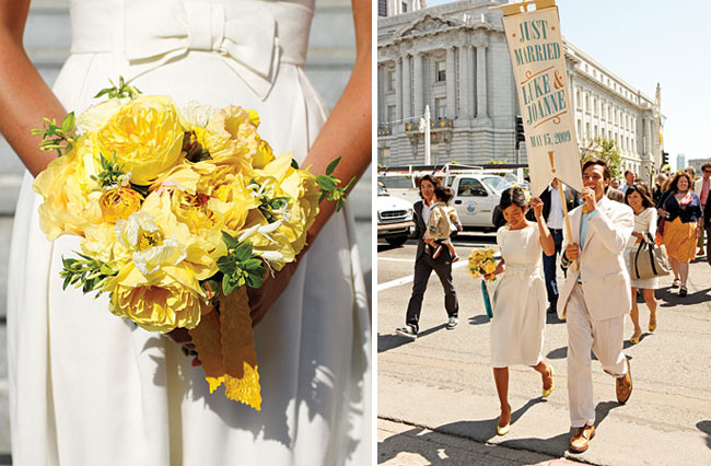 san francisco city hall wedding yellow bouquet