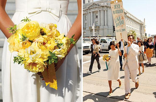 san francisco city hall wedding yellow bouquet