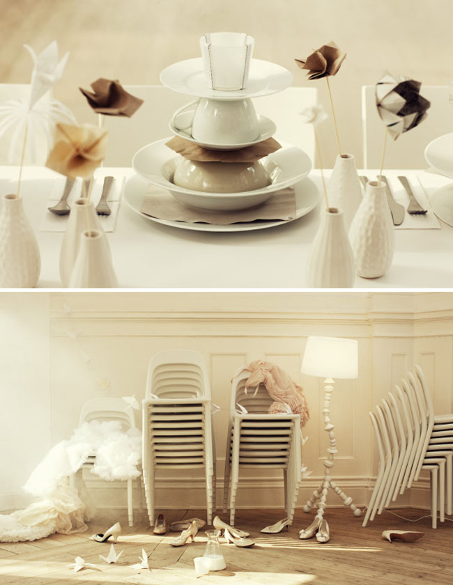 origami table design with ikea dishes