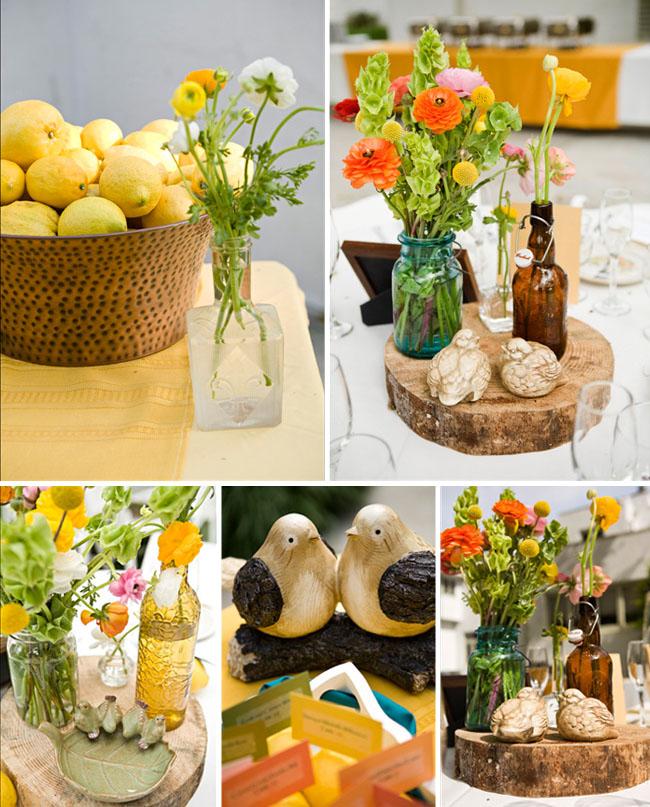 bottles for wedding decor lemons