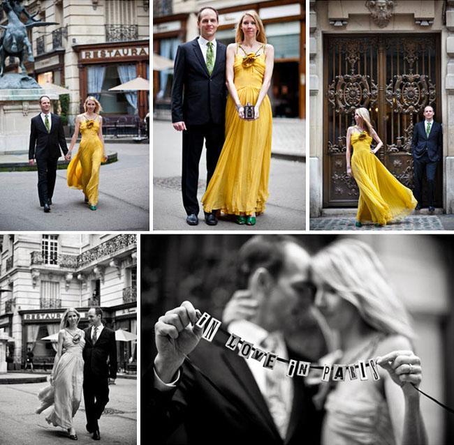 engagement photos in paris yellow dress