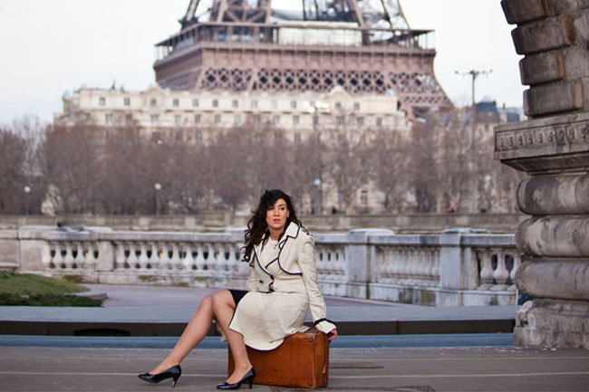in love in paris with vintage suitcase