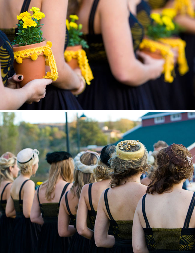 bridesmaids wore vintage hats carry potted flowers