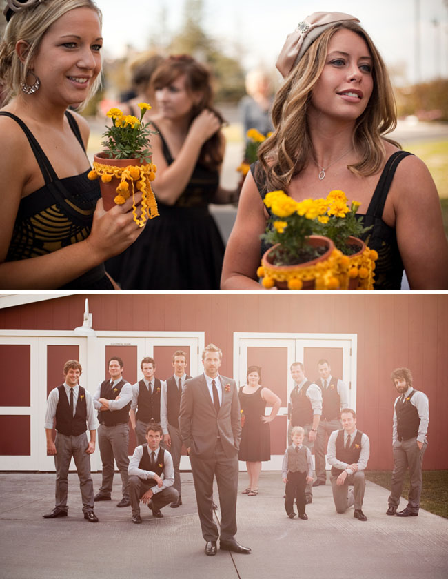 bridal party red barn wedding