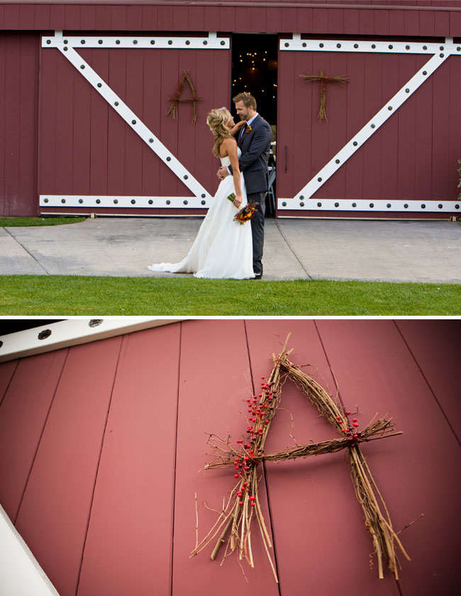 wedding letters made of twigs red barn