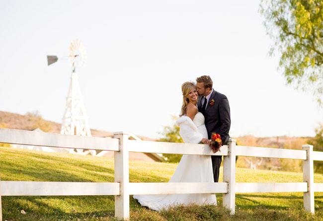 wedding couple on farm