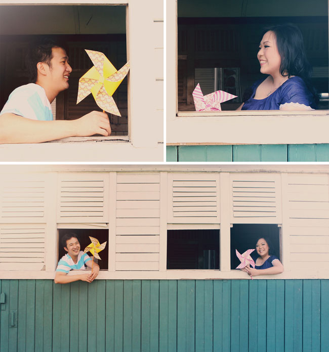 trains and pinwheels engagement photos