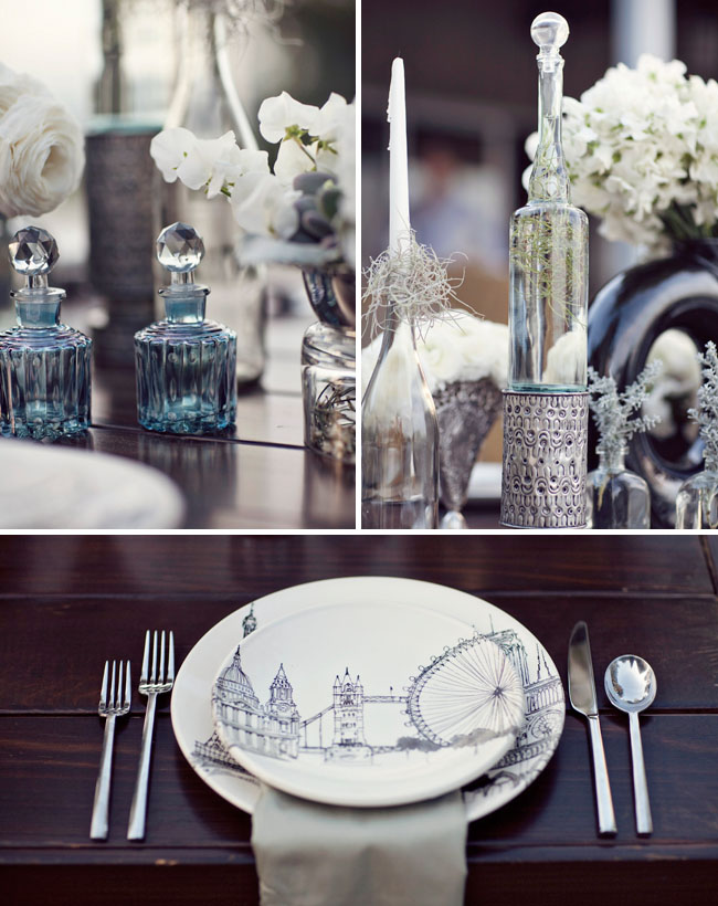 modern plates wedding vintage bottles