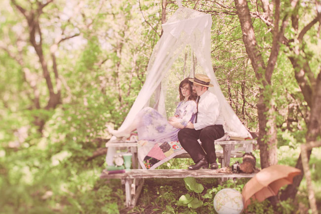 vintage picnic engagement in woods