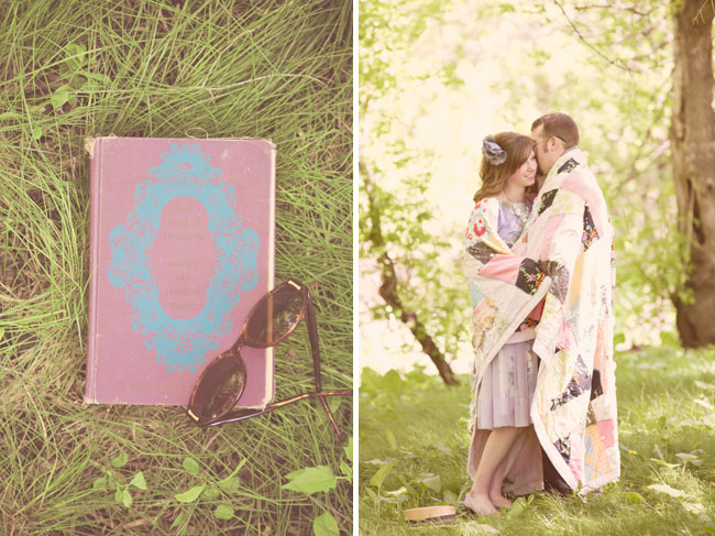 engagement photo with blanket and vintage books