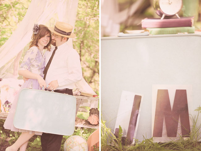 engagement photos with vintage suitcase