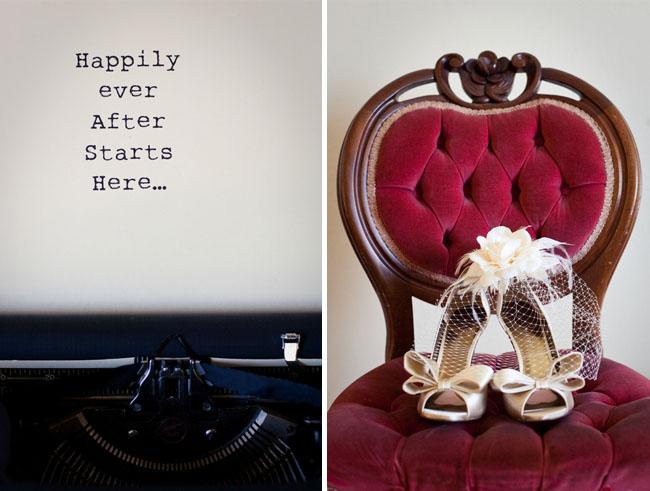 wedding shoes and typewriter
