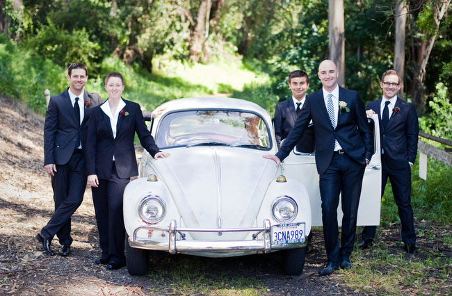 volkswagon wedding bridal party with bug