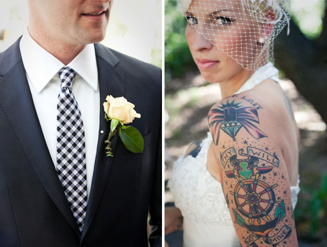 black and white tie bride with tattoos