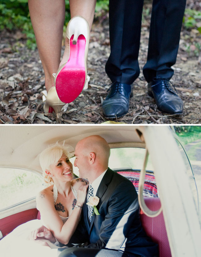 vw bug wedding red shoes