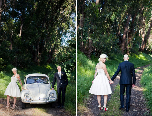 wedding with a vw bug in the woods