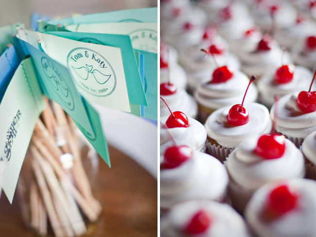 wedding cupcakes and flags