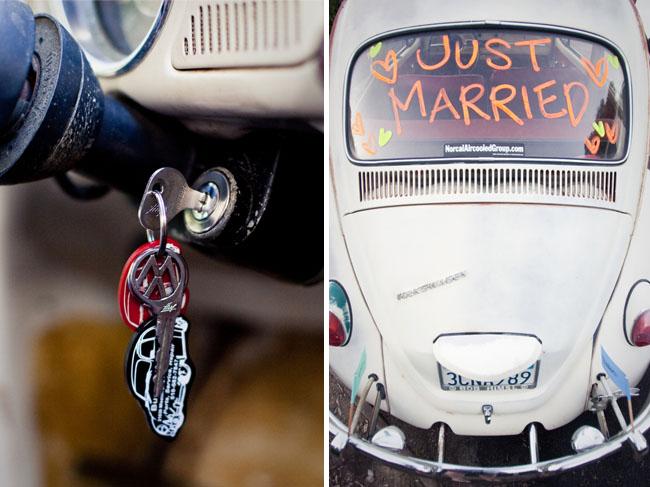vw bug as getaway car wedding