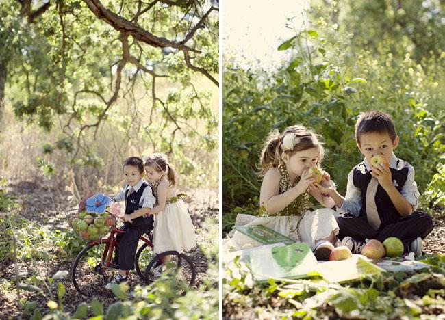 kids in love picnic under tree