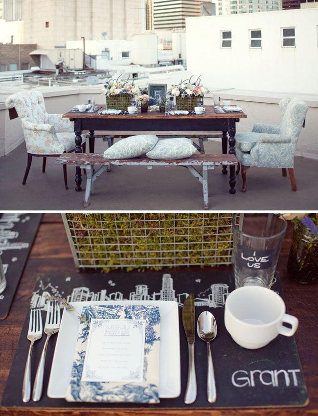 wedding rooftop reception vintage table